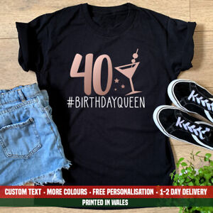 Ladies 40 Birthday Queen T Shirt Funny 40th Birthday 1981 Sister Party Gift Top