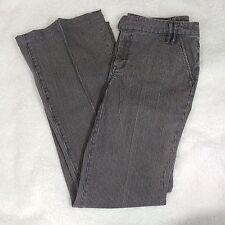 CAbi Jeans Black Gray Pinstripe Jeans - Size 10 - Wide Leg Mid Rise