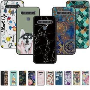 For LG K31 K41S K51S K61 Q51 Q61 Q70 Black Painted TPU Soft Silicone Case Cover