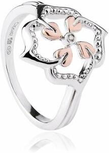 NEW Welsh Clogau Silver & Rose Gold Tree of Life Flower Ring £60 off! Size R