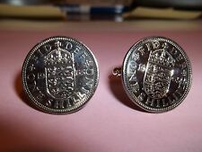 ENGLISH SHILLING 3 LIONS COIN CUFFLINKS 1965 - 52nd BIRTHDAY