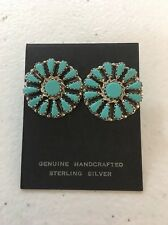 Native American Navajo Cluster Post Turquoise Earrings Leander Nez Stunning #3