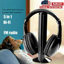 US Stock Wireless TV Headset 5In1 MP3 PC Stereo Headphones Over Ear Earphone TW