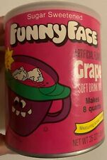 1980s Brady Funny Face Goofy Grape Drink Kool Aid Paper Label Tin NOS Unopened