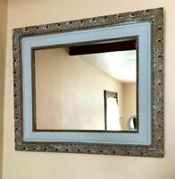 """ReFab Chic Antique Mirror Plaster on Wood Light Blue Paint and Gold 29"""" x 24"""""""