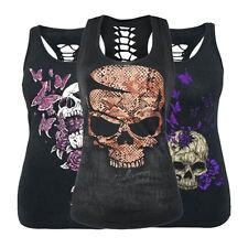 Women Gothic Skull Print Sleeveless Vest Top Shirt Blouse Tank Tops T-Shirt UK