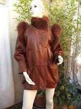 veste cuir fauve & fourrure renard t 2  PELLESSIMO VINTAGE 80' TTB ETAT