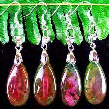 2Pairs Green And Rose Dragon Veins Agate Teardrop Earrings 30*15*6mm/67mm AE1657