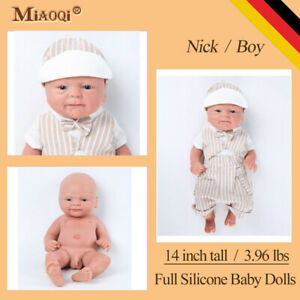 "Full Silicone Reborn Baby Eyes Opened Newborn Lifelike Realistic Baby Doll  14"""