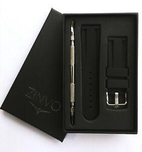 ZINVO 24mm Premium Swiss Watch Rubber Silicone strap + Tool Blade divers Unisex