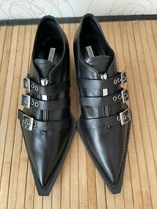 John Galliano Black Loafers Buckles Strappy Women's Shoes Size US 10 EU 41