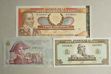 3 different Haiti paper money 1, 10 and 20 Gourdes Au-Unc.