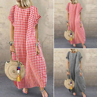 ZANZEA Women's Batwing Long Shirt Dress Round Neck Plaid Check Maxi Dress Plus