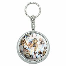 Cool Dogs on Framed on Fence Pattern Portable Travel Ashtray Keychain