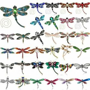 Fashion Crystal Dragonfly Rhinestone Animal Insect Brooch Pin Charm Women Gift