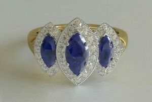 3Ct Marquise Cut Blue Sapphire Engagement Ring Three Stone 14k Yellow Gold Over