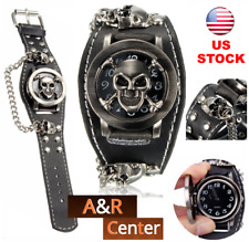 Men Women Punk Gothic Skull Case Leather Band Quartz Wrist Watch Bracelet Cool