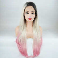 Straight Extra Long 28inch Dark Root Light Blonde Pink Ombre Lace Front Wig