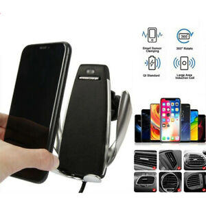 Car Charger Automatic Fast Charging Mount Clamping Wireless For iPhone Samsung