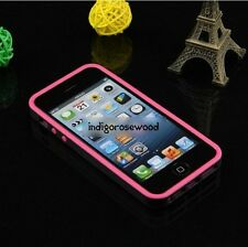 Durable Stylish Silicone Soft Case Cover Bumper Frame for iPhone 5 Black&Pink