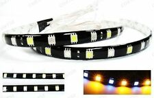2x WHITE AMBER Switchback 18 SMD LED Strip Bar Daytime Running Turn Signal Light
