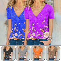 Women's V-neck Short Sleeve T-Shirt Floral Print Ladies Blouse Tops Fashion