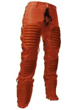 men's real cowhide heavy duty bondage pants bluf gay trousers pure leather jeans