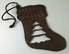"""Western Cowboy Christmas Stocking Ornament Painted """"Rusty"""" Metal Southwest"""