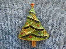 Christmas Tree Pin – Brooch Rhinestone Made By B.J.