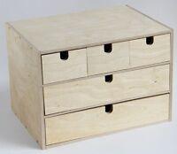 KAO Mart All Natural Wood 5 Drawer Handmade Storage Organizer, HANDMADE