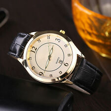 Mens Gold Delux Fashion Quartz Ivory Pattern Dial Date Black Band Wrist Watch