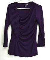 RXB Women's Large Long Sleeve Asymmetrical Neckline w/ Rouched Middle Blouse