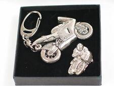Racing Motorbike Pin and Keyring set, English Pewter