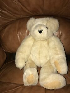 "Vermont Teddy Bear Fully Jointed 15"" Plush Blonde Brown Eyes Stuffed Animal Toy"