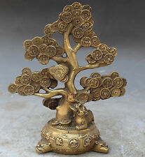 Chinese Bronze Fengshui BiXie Beast Pixiu Lucky Tree Money Statue NR