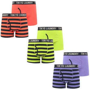 Tokyo Laundry Neville 2 Two Pack Boxer Shorts Set Striped Boxers Trunks Cotton