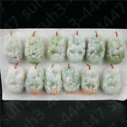 Jade Chinese Zodiac Pendant Natural White Necklace Charm Jewelry Lucky Amulet
