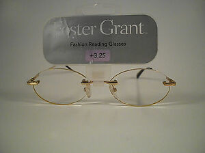 FOSTER GRANT READING GLASSES GOLD WITH SPRING HINGE 28
