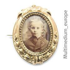 Biedermeier Historismus Photo Brosche Silber vergoldet Tracht pin brooch silver