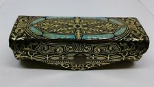 ❤VINTAGE FIOCCHI BLACK LEATHER EMBOSSED LIPSTICK CASE HOLDER MIRROR GORGEOUS!
