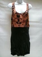 Motel Jean Dress Black With Zebra Red Animal Print Motel Rocks Bnwt New L UK 14