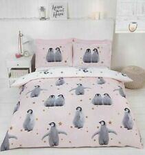 Starry Penguins Pink Quilt Cover Reversible Bedding Set FREE P&P