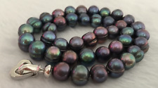 stunning 12-13mm Tahitian black green pearl necklace 18inch gift