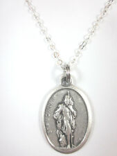 "St Florian Medal Italy Pendant Necklace 20"" Chain Gift Box & Prayer Card"