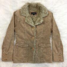 Vintage Steve Madden Bomber Corduroy Coat Lined w Shaggy Faux Fur Size S R