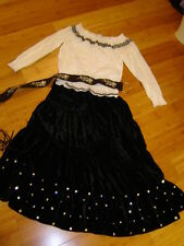 Gypsy pirate Renaissance wench costume white blouse black skirt emb. belt M