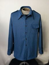Vtg 70s Men Shirt Jacket Blue Checks LgSlv Button Front HandMade Hippy Disco Xl