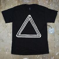 Mens Black Optical Illusion Triangle Pyramid Urban Hipster Graphic T Shirt