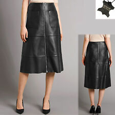 New M&S AUTOGRAPH Real LEATHER Long A-LINE Zip Front SKIRT ~ Size 6 ~ BLACK