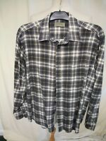 Mens Shirt Tom Hagan size XL black/grey/white check brushed cotton casual 1836